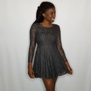 Altar'd State Gray Lace Fit and Flare Dress